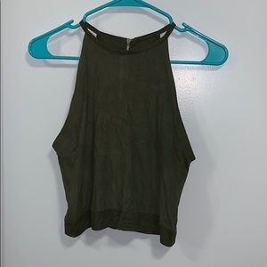 Green suede tank top